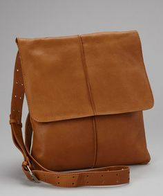 Take a look at this Cognac Leather Flap Crossbody Bag by Nino Bossi Handbags on #zulily today!