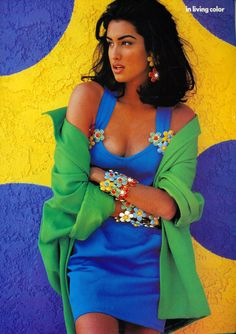 """In living Color"", Vogue US, February 1991  Photographer : Patrick Demarchelier  Model : Yasmeen Ghauri Uploaded by 80s-90s-supermodels.tumblr.com"
