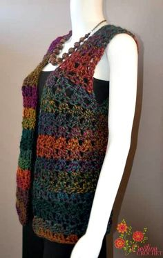 FREE Pattern for Unique Shell Vest This pattern is designed using Unique by Lion Brand. It features simple construction and is easily customizable as well. Pattern is made in sizes small through extra large. Crochet Waistcoat, Gilet Crochet, Crochet Vest Pattern, Crochet Blouse, Crochet Shawl, Easy Crochet, Free Crochet, Knit Crochet, Crochet Patterns
