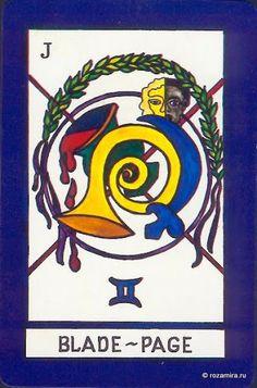 Page of Blades (= Page of Swords) The New Tarot (aka Royal Maze Tarot) - rozamira tarot - Picasa Web Albums
