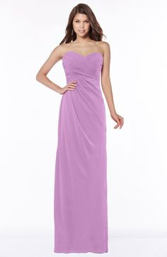 Orchid Glamorous A-line Sweetheart Half Backless Chiffon Floor Length Bridesmaid Dresses