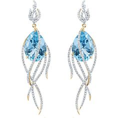 Arya Esha Galaxy Collection Earrings Blue Topaz and Diamonds (11,335 CAD) ❤ liked on Polyvore featuring jewelry, earrings, blue, cosmic jewelry, diamond jewelry, diamond earrings, blue topaz jewelry and 18k jewelry