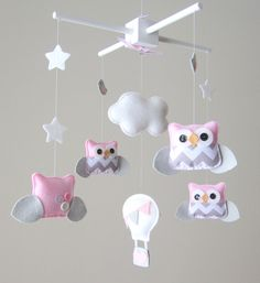Baby Mobile  Owl Mobile  Pink and Gray Mobile  Hot by LoveFeltXoXo, $135.00