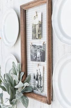 An old wood frame has been turned into a unique way to display photos with a little hardware cloth and clothespins.  ||  www.andersonandgrant.com