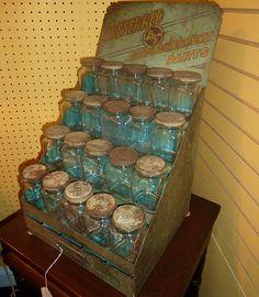 I love vintage mason jars! Vintage Mason Jars, Blue Mason Jars, Mason Jar Lids, Canning Jars, Mason Jar Crafts, Antique Bottles, Vintage Bottles, Bottles And Jars, Antique Glass