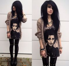 Internacionale Cardigan, Edward Scissorhands Top, Romwe Studded Leggings, Jeffrey Campbell Lita Spikes