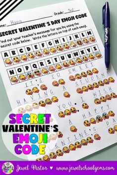 Valentine's Day Activities (Valentine's Day Emoji Activities) | For Kids | Classroom | Fun | Emojis | A SECRET VALENTINE'S DAY EMOJI CODE contains a secret code activity that can come handy during Valentine's Day! You get two kinds of sheets: one that has the secret message in Valentine's Day emoji code and another that has the answer key. The answer key can be shown to the students through the interactive whiteboard. You can give a prize to the first one to finish this exciting activity.