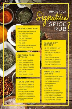 Creating the perfect spice rub is all about balancing flavors and striking that balance is easier said than done. So, we created a simple guide to help you decide between mild or hot, Kansas or Memphis-style, and Mexican Chile or Jamaican Jerk rub. Homemade Spices, Homemade Seasonings, Homemade Dry Mixes, Homemade Spice Blends, Receta Bbq, Grilling Recipes, Cooking Recipes, Smoked Meat Recipes, Smoker Grill Recipes