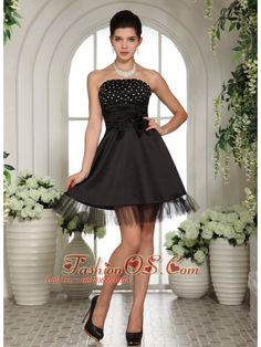 Beaded Decorate Bust and Hand Made Flowers For Black Cocktail Dress- $122.19  http://www.fashionos.com/  zipper up back prom dress | cheap prom dress under 150 | online dress store on sale | 2013 popular prom dress for celebrity | strapless beaded prom dress | mini length prom dress | premiere prom | classy prom dresses | miss cover girl | design your own prom dress |