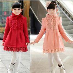2016 Gola de Lã Casaco de Inverno das Crianças Novas, Jaqueta da menina, Casaco de Inverno da menina