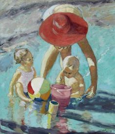 Red Hat Lady and Children - Beach Art