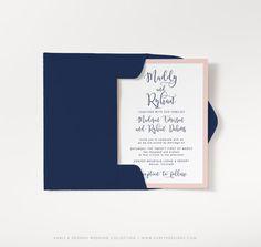 Modern Navy and Blush Wedding Invitation Set by KarlyKDesignShop