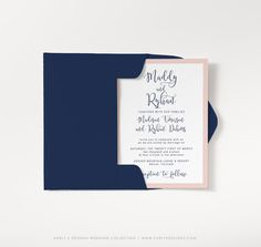 Modern Navy and Blush Wedding Invitation Set by KarlyKDesignShop