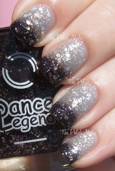 Dance Legend Termo Shine Collection Swatches 180 is a black to clearish grey/white color changer with silver glitter