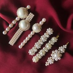 These hair clips are distinctive pieces that add a contemporary finish to any outfit, whether youre going to work, going out, or going all-out. All Black Dresses, Clip Hairstyles, Toddler Hair Clips, Pearl Hair, Vintage Pearls, Hair Barrettes, Girls Accessories, Crystal Rhinestone, Hair Pins
