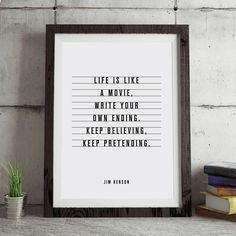 Life is Like a Movie Typography Poster Wall Decor Jim Henson quote Motivational Print Inspirational Poster Home Decor Typography Quotes, Typography Inspiration, Typography Prints, Typography Poster, Inspirational Posters, Motivational Posters, Motivational Board, Black And White Wall Art, Black White