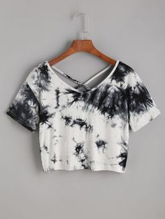 Tie Dye Criss Cross Back Crop T-shirt