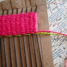 Simple weaving with a cardboard loom! Great for young students to refine fine motor skills