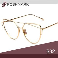 CLEAR GOLD CAT EYE GLASSES Cute clear cat eye glasses!! (NOT prescription readers) make a statement with these cute 👓 No trades. Please use the offer tool. Accessories Glasses