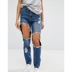 Missguided Riot High Rise Destroyed Mom Jean ($51) ❤ liked on Polyvore featuring jeans, destructed jeans, slim fit jeans, ripped slim fit jeans, tapered leg jeans and high-waisted jeans