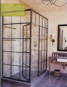 This black frame shower surround would look great in an industrial loft space or a rustic stone house as a more modern touch.