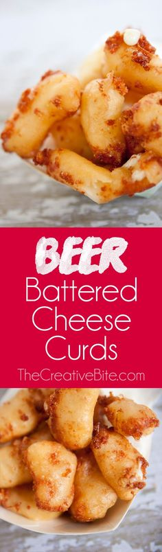 Beer Battered Cheese Curds are coated in a crispy, salty batter and ooze fresh, hot cheese from the center! This summer fair classic is great year round with this delicious homemade recipe. #Beer #CheeseCurds