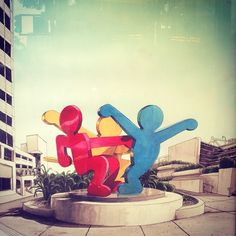 (Keith Haring Sculpture at Moscone Center) make life size figures with cardboard and create an installation at school