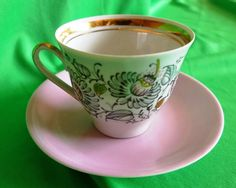 Vintage Latvia USSR Soviet Porcelain Riga factory RPR coffee cup & saucer gold t
