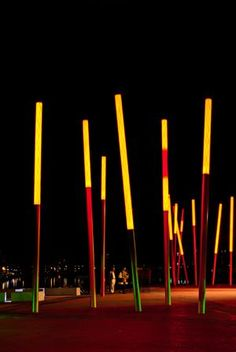 Grand Canal Square, designed by leading international landscape architects and urban designers Martha Schwartz Partners at night time on August 23, 2011 in Dublin, Ireland; credit matthi  shutterstock.com