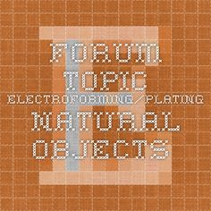 Forum Topic - Electroforming/plating natural objects.