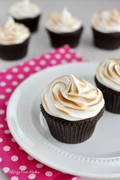 Gluten Free Chocolate Cupcakes with Toasted Marshmallow Frosting - Allergy Free Alaska