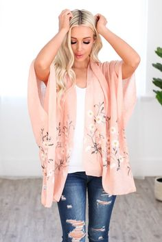 Pink Spring Daisy Woven Kimono Pyjamas, Kimono Floral, Pink Daisy, Clothing Size Chart, Affordable Fashion, Dress Collection, Rose, Relax Relax, Spring Flowers