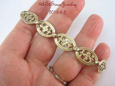 """Estate wRe Symmetalic Sterling Silver 925 14K Gold Floral Link Bracelet 7""""Long #WERichardsSymmetalic #Link"""
