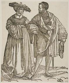 Schaufelein, Hans Leonhard Dancers at a Wedding Plate 3 Renaissance Music, Renaissance Clothing, Marriage Images, German Outfit, Tudor Fashion, Landsknecht, Wedding Plates, German Women, Dark Ages