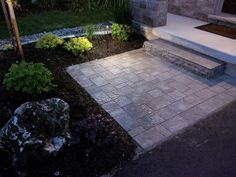 Front entry with night lighting. Wright Landscape Services