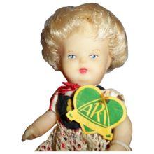 Vintage ARI German 6 inch Tagged Rubber Doll, All Original