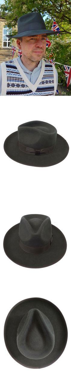 1eed5d6f5bcc13 Mens Hats 163619: 1940S Style Charcoal Grey 100% Wool Felt Mens Fedora  Large Brim