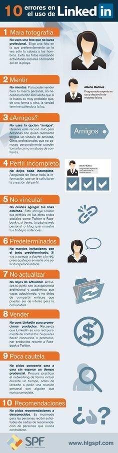 Infografía: 10 errores a evitar en tu perfil de Linkedin