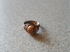 Brown Bead Wire Wrap Ring