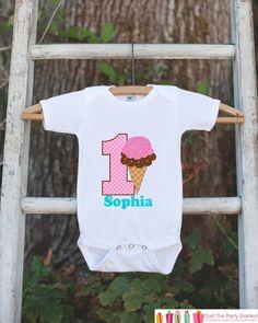 Ice Cream Cone Onepiece Bodysuit - First Birthday #clothing #children #tshirt @EtsyMktgTool #babyonepiece #onepiecebodysuit #babybodysuit