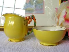 Royal Winton Grimwades Tiger Lily Yellow Creamer and Sugar Bowl Vintage Honey Lily Yellow Creamer and Open Sugar Bowl Mothers Day Gift 5402