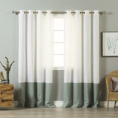 Shop for Aurora Home Color Block Linen Blend Grommet Top 84-inch Curtain Panel Pair. Get free delivery at Overstock.com - Your Online Home Decor Outlet Store! Get 5% in rewards with Club O! - 21268395