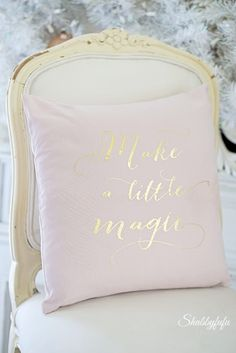Change the look of a room at Christmas with just a pillow! I love this one with gold lettering from H & M Home. More on the blog at Shabbyfufublog