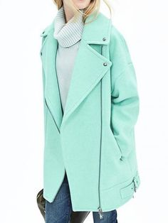 This mint woolen coat is making us excited to brave the cold weather in style!