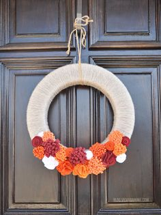 DIY Felt Flower Hokie Wreath - Virginia Tech Homecoming 2013