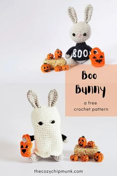 Boo Bunny, a free crochet amigurumi ghost ]pattern. Perfect for Halloween - The Cozy Chipmunk Halloween Crochet Patterns, Easy Crochet Patterns, Diy Crochet, Crochet Toys, Crochet Animal Amigurumi, Amigurumi Patterns, Crochet Animals, Crochet Decoration, Modern Crochet