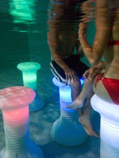 The Pool Stool Underwater Pool Chair! For my pool! Led Shop, Pool Chairs, Swim Up Bar, Led Stripes, Rgb Led, Pool Accessories, Pool Toys, Cool Inventions, Cool Pools