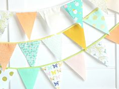 Mint Green Peach and Gold Fabric Bunting Garland 9 Feet / Vintage Carnival Decorations / Mint and Gold Party / Vintage Fabric Banner by AFeteBeckons on Etsy https://www.etsy.com/listing/221052097/mint-green-peach-and-gold-fabric-bunting