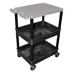 Utility Cart, H 36 1/2 In, Gray Top by Luxor. $252.90. Utility Cart, Load Capacity 300 lb., Polyethylene Construction, Color Gray Top Shelf, Black, Overall Length 24 In., Overall Width 18 In., Overall Height 36 1/2 In., Number of Shelves 3, Caster Size 4 In., Caster Type 4 Swivel, 2 with Lock, Caster Material Hard Rubber, Capacity per Shelf 100 lb., Distance Between Shelves 10 3/4 In., Shelf Length 24 In., Shelf Width 18 In., Lip Height 1/4 In.