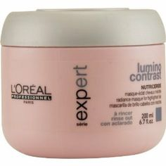 Serie Expert Lumino Contrast Radiance Masque 6.7 oz. by L'Oreal Paris. Nutriceride. Radiance Masque For Highlighted Hair. Rinse Out. Lumino Contrast.